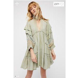 Free People Heartbreaker Mini Dress Sage Green